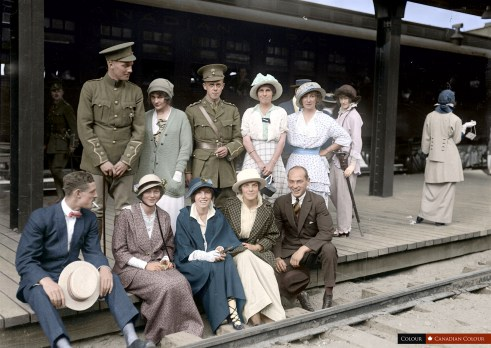 Soliders at a station - colourized photograph