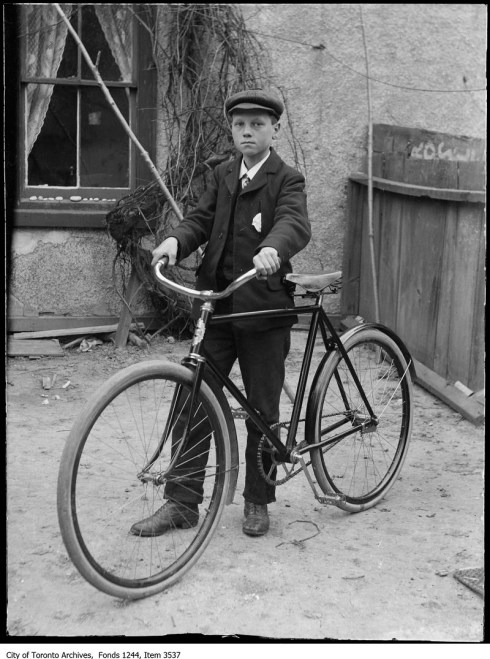 Boy with first bike - Original Photograph