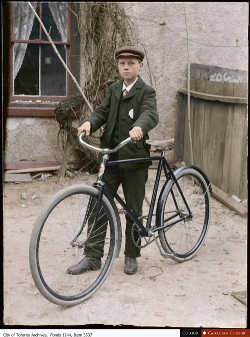 Boy with first bike - Colourized Photograph