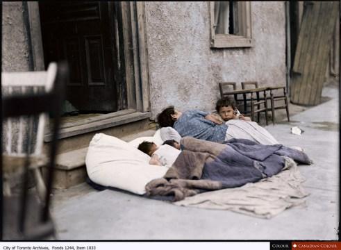 Toronto Sleepers - Colourized Photograph