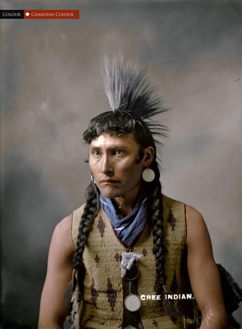 Cree Man, Alberta 1903 - Colourized Photograph