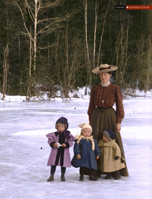 Woman/Children - Colourized Photograph