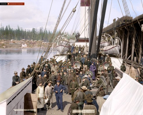 Klondikers Bound North - Colourized photograph