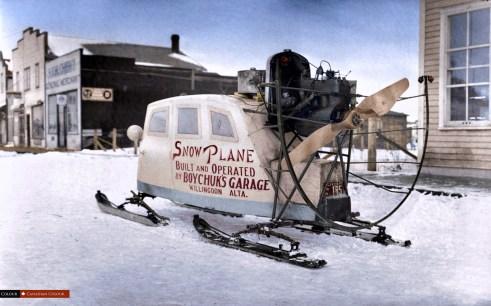 Snow Plane - Colourized Photograph