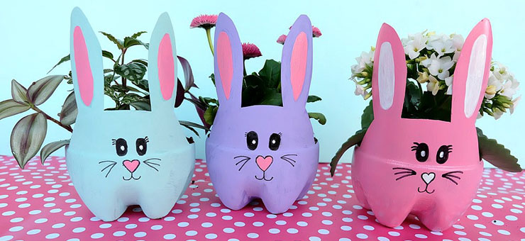 Easy Easter Crafts for Adults - Bunny Planters