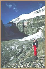 Climber on Plain of Six Glaciers trail