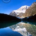 Beautiful Lake Edith reflecting the mountains.