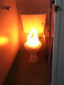 toilet flushing hot water