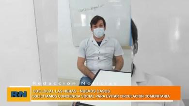 Photo of Redacción Noticias |  COE Las Heras casos del día MARTES