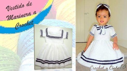 Vestido para niña de marinera a crochet