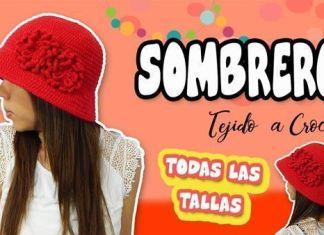 8ab91ed06 Sombrero tejido a Crochet todas las tallas