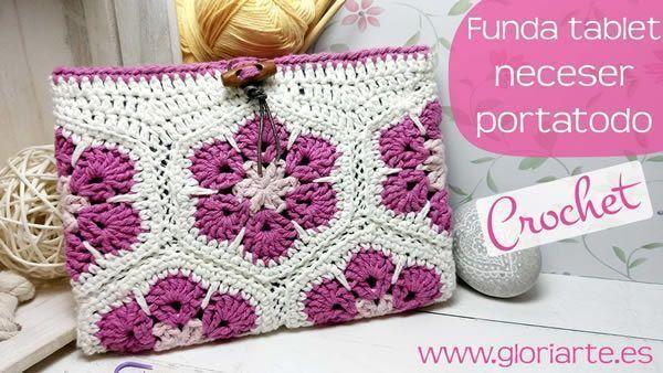 Funda para tablet a crochet con flores africanas