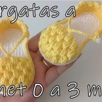 Alpargatas en punto garbanzo para bebe de 0 a 3 meses