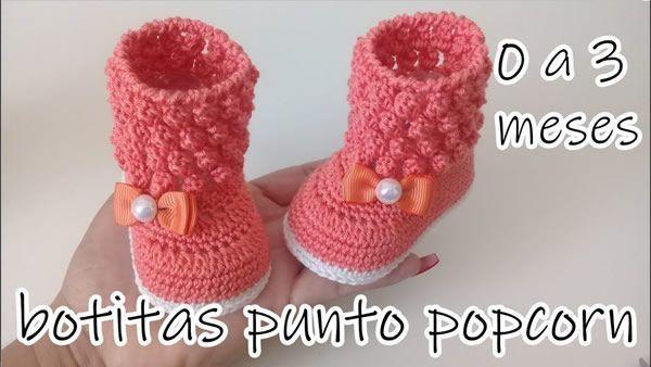 1b0372c3e Botas a crochet para bebe de 0 a 3 meses - Canal Crochet