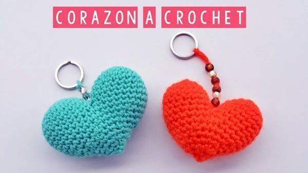 DIY Llavero tejido a crochet de corazón
