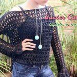 Suéter calado tejido a crochet