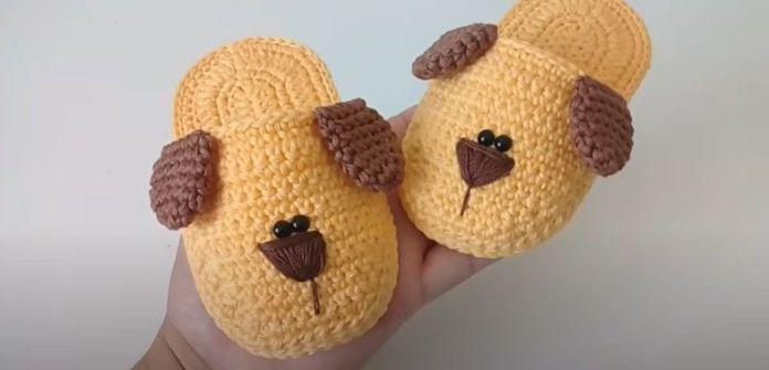 DIY Pantuflas de perrito tejidas a crochet