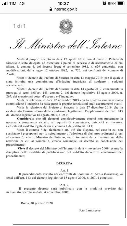 Archiviato il procedimento sul Consiglio Comunale di Avola, il 12 febbraio il Gip deciderà se rinviare o meno a giudizio sindaco e funzionari comunali