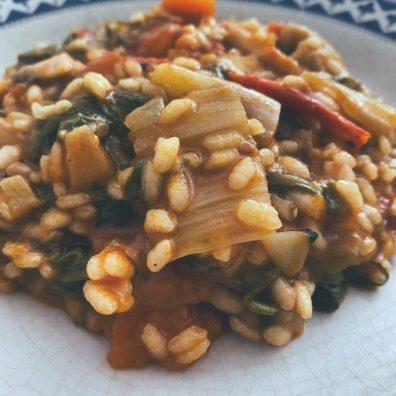 El arroz meloso de verduras