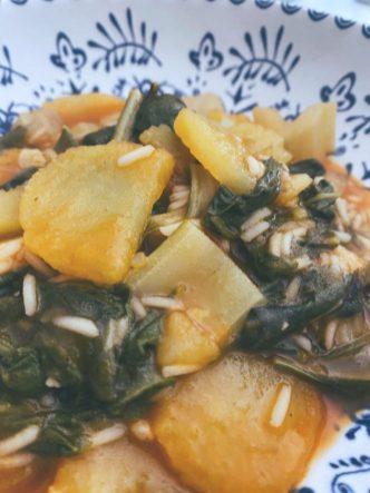 Acelgas, patatas y arroz