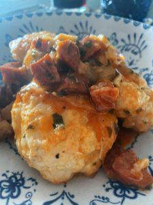 La coliflor en salsa con chorizo
