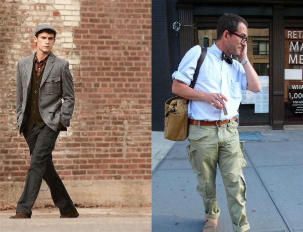 No look a esquerda vemos uma boa utilização de uma cargo com corte correto, mas na direita, um desastre, bolsos demais e muito volume, principalmente para quem não é tão alto ou magro.
