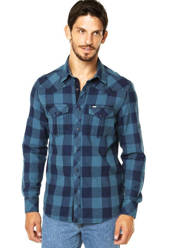Camisa-Wrangler-Azul-xadrez