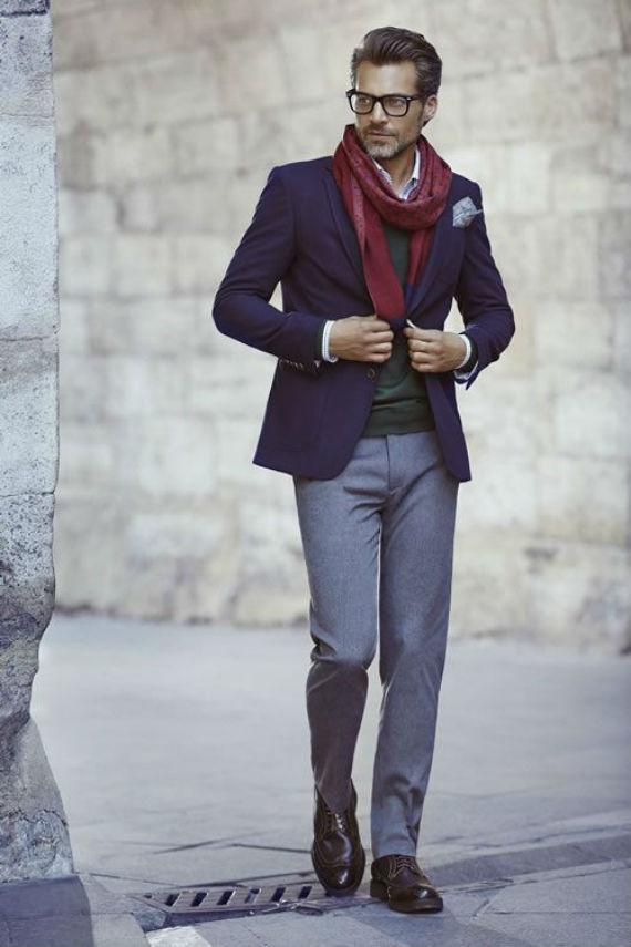 O Look Certo: Com 3 Tons Invernais - Blazer, Malha, Calça, Camisa, Cachecol, Sapato