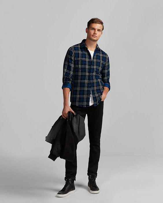 Roupas masculinas para o outono - Camisa Xadrez