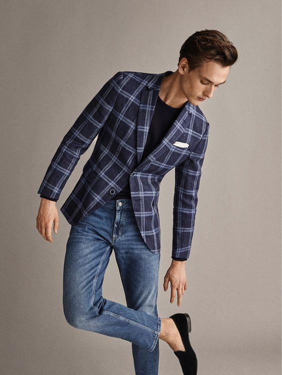 O Look Certo: Com Blazer Xadrez, Jeans e Slippers