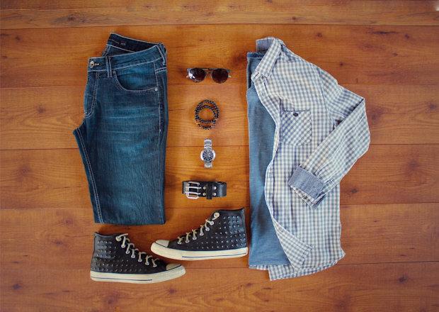 Camisa xadrez vichy e camiseta flamê de mescla