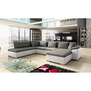 Canapé d'angle panoramique 7 places ALIA gris et blanc