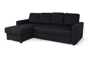 Relaxima Loft Canapé d'Angle Fixe Réversible Bois Noir 236 x 150 x 85 cm