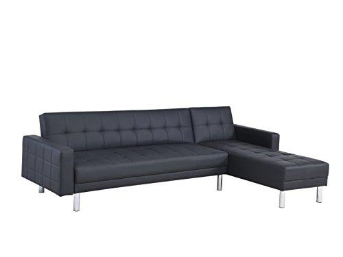 Canapé d'angle convertible design noir (couchage 2 personnes)