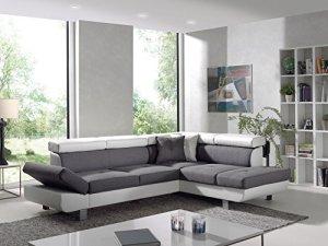 Bestmobilier – Lisbona – Canapé d'angle Droit Convertible – L 252 x P 190cm Couleur – Blanc/Gris