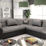 tendencio Canapé d'angle Convertible en lit LITO – Assise en Tissu Gris et Contour en Simili Cuir Noir