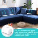 CAVEEN Housse de Canapé d'angle Extensible avec Accoudoirs Couverture de Canapé en Forme de L Revêtement de Canapé en Tissu élastique (3 Places + 3 Places, Bleu Marine)