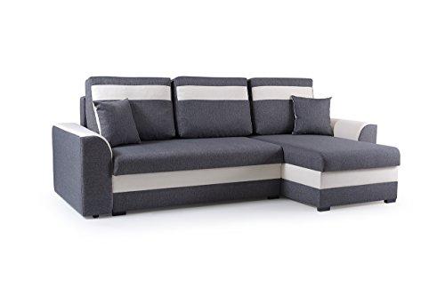 MEUBLO Petit canapé d'angle Convertibles 3 Place Tissu ZENO (Gris foncé, Canapé d'angle Droit)