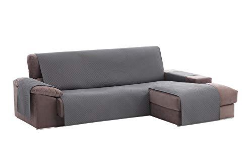 textil-home Housse de canapé Adele, Protection rembourrée pour canapé d'angle Droit. Taille -240cm. Couleur Grey (VU of Face)