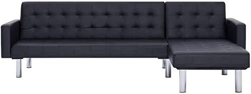 En forme de L canapé-lit convertible   séjour Canapé-lit   2 Position Canapé d'angle réglable,Black