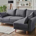 Lisa Design – Hanne – Canapé d'angle Convertible scandinave – avec Coffre – 4 Places – Droit