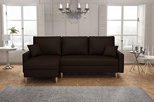 La Petite Maison – Canapé d'angle Gauche Convertible avec 2 coffres de Rangement – 220 x 72 x 140 cm – Marron