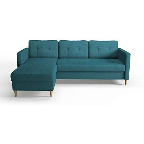 Générique FALSLEV Canapé d'angle Fixe réversible – Tissu Bleu Canard – L 218 x P 152 x H 86 cm