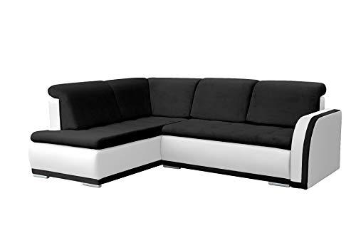 MEUBLO Canapé d'angle Convertibles 3 Places Tissu + Simili Cuir Vero II (Noir + Blanc, Canapé d'angle Gauche)