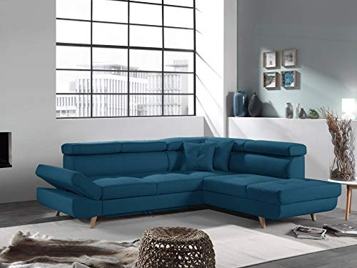 Bestmobilier – Linea – Canapé d'angle Droit Convertible scandinave – L 252 x P 190cm