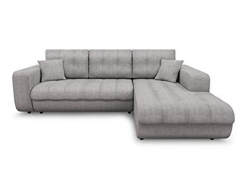 Loungitude Canapé d'angle gauche convertible 4 places en tissu gris