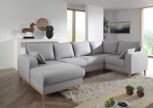Lisa Design – Helga – Canapé d'angle panoramique – en Tissu – 7 Places – Droit