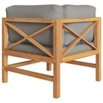 vidaXL 2X Teck Solide Canapés d'angle avec Coussins Canapé d'angle de Patio Meuble de Terrasse Canapé de Jardin Extérieur Gris Foncé