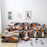 papasgix Housse de Canapé d'angle Extensible Protection du Sofa Universelle Revêtement de Canapé avec Accoudoirs Antipoussière, Couverture pour Canapé en Forme de L 2 Pièces(2#,2 Places+2 Places)