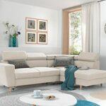 Lisa Design – Clayton – canapé d'angle Convertible – avec têtières – 5 Places – Style scandinave – Droit